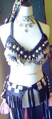 Coin Bra 1D with Fringe Medallion Belt - 4 Piece Set